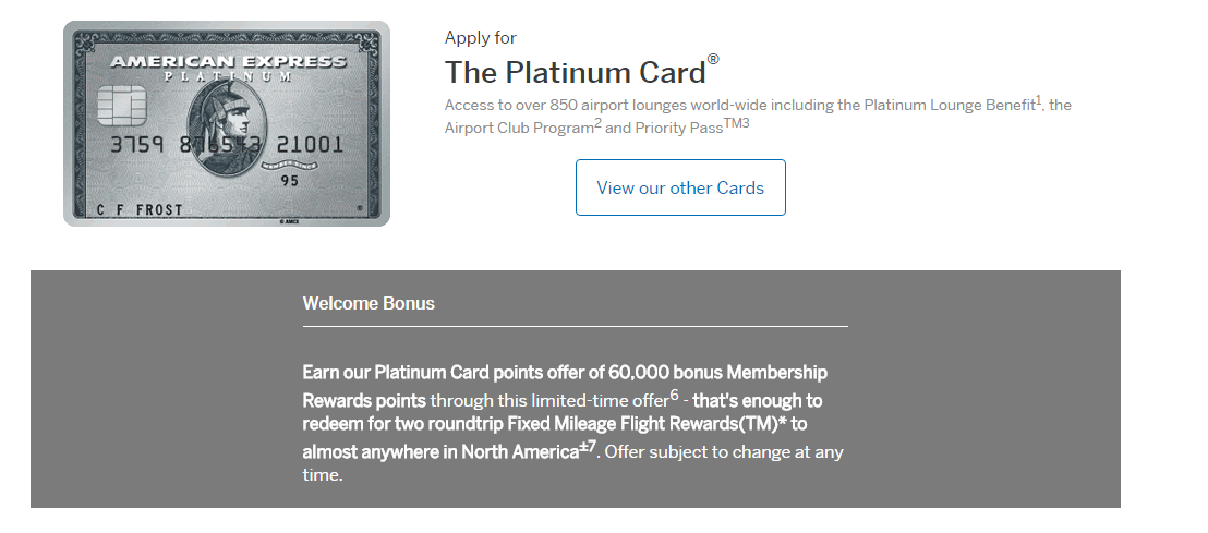 American Express Platinum Card for Canadians