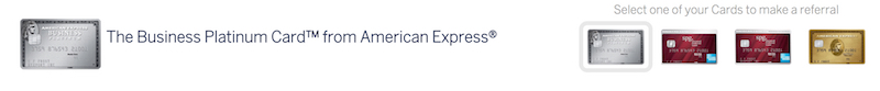 Amex Referrals home page. Select one of your cards