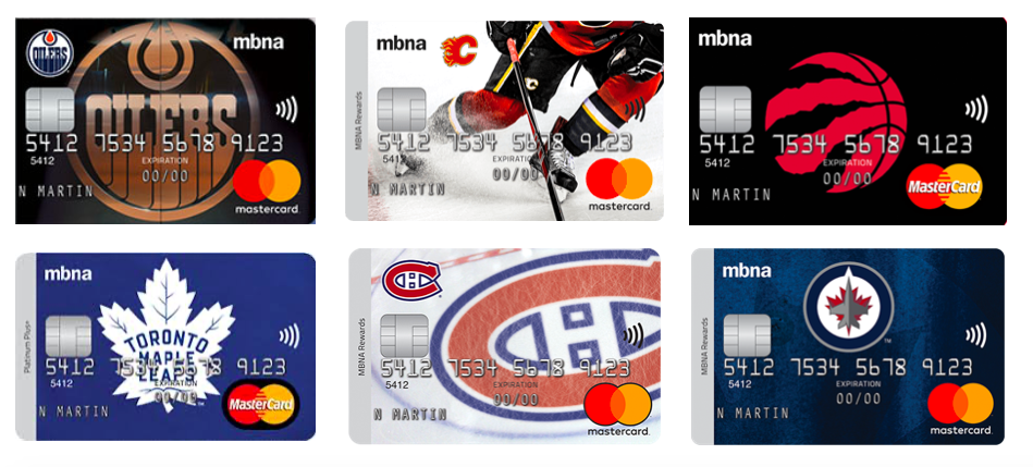 MBNA sports credit cards