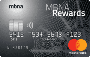 MBNA Rewards Platinum Plus Mastercard, the Best no fee Travel Credit Card Canada
