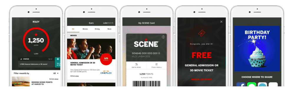 Using the app as an alternative to the Cineplex SCENE card