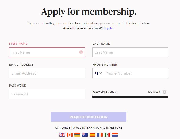 Registration on the Masterworks platform