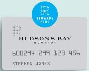 HBC's Rewards programs loyalty card, Hudson's Bay Rewards Plus Card