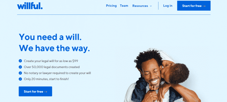 willful landing page